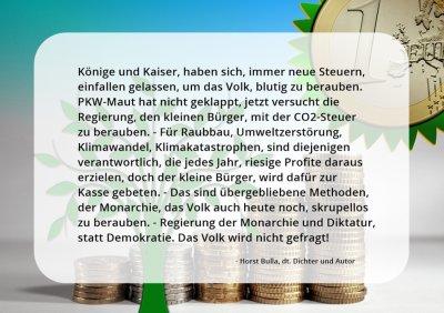 CO2-Steuer, Raubbau, Umweltzerstörung, Klimawandel, Kapitalismus. - Horst Bulla