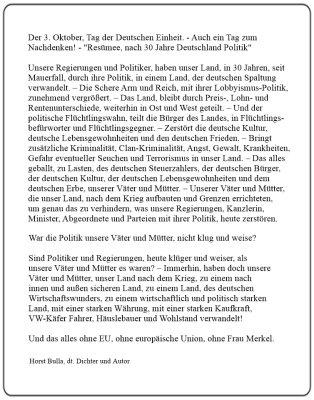 Der 3. Oktober, Tag der Deutschen Einheit. - Resümee, nach 30 Jahre Deutschland Politik - Langversion  - Horst Bulla